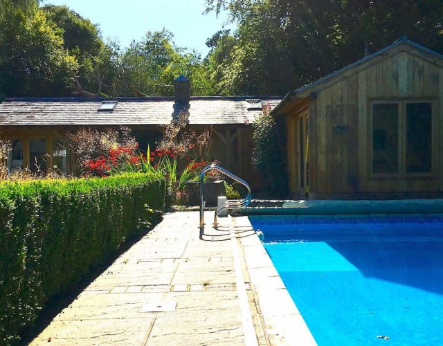 Swimming pool at Sunnydell Cottage Burley New Forest